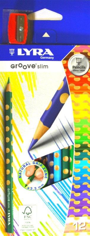 Lyra Набор цветных карандашей Groove Slim с точилкой 12 штL2821120_новый дизайнЦветные карандаши Lyra Groove Slim понравятся вашему юному художнику.Набор включает в себя 12 ярких насыщенных цветных карандашей треугольной формы с эргономичным захватом. Карандаши идеальны для раннего развития ребенка. Карандаши изготовлены из натурального сертифицированного дерева, экологически чистые. Имеют ударопрочный неломающийся грифель, не требующий сильного нажатия, легко затачиваются.