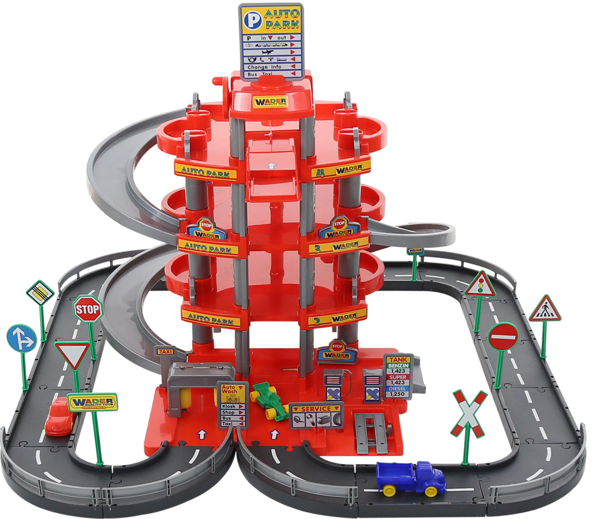 Полесье Парковка 4 уровня с дорогой и автомобилями цвет красный - Транспорт, машинки