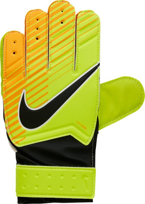 Перчатки вратарские детские Nike Match Goalkeeper, цвет: зеленый, размер 8GS0343-715Kids Nike Match Goalkeeper Football GlovesДетские футбольные перчатки Nike Match Goalkeeper смягчают нагрузку от удара мяча и обеспечивают оптимальный захват и контроль мяча в любых погодных условиях.Пеноматериал на основе латекса обеспечивает превосходное сцепление в любых условиях.Манжета с застежкой на липучке для регулируемой посадки.Перфорация в области пальцев усиливает вентиляцию.