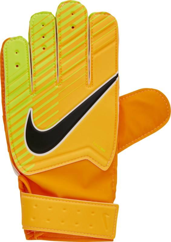 Перчатки вратарские детские Nike Match Goalkeeper, цвет: оранжевый, размер 6GS0343-845Kids Nike Match Goalkeeper Football GlovesДетские футбольные перчатки Nike Match Goalkeeper смягчают нагрузку от удара мяча и обеспечивают оптимальный захват и контроль мяча в любых погодных условиях.Пеноматериал на основе латекса обеспечивает превосходное сцепление в любых условиях.Манжета с застежкой на липучке для регулируемой посадки.Перфорация в области пальцев усиливает вентиляцию.