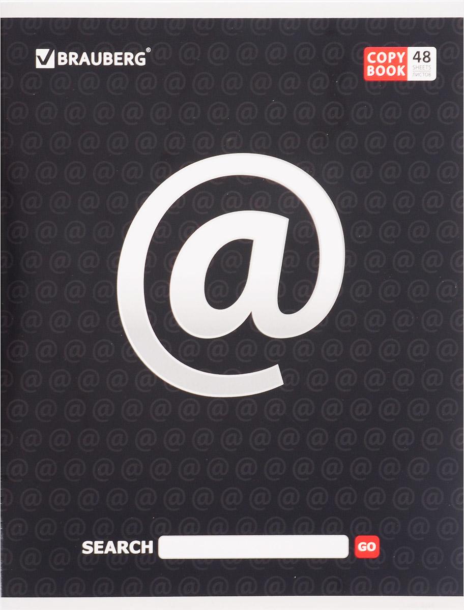 Brauberg Тетрадь В сети @ 48 листов в линейку цвет черный401898_@Тетрадь Brauberg В сети @ подойдет как школьнику, так и студенту. Обложка тетради выполнена из плотного мелованного картона, что позволит сохранить ее в аккуратном состоянии на протяжении всего времени использования.Внутренний блок тетради, соединенный двумя металлическими скрепками, состоит из 48 листов белой бумаги. Стандартная линовка в линейку голубого цвета дополнена полями.