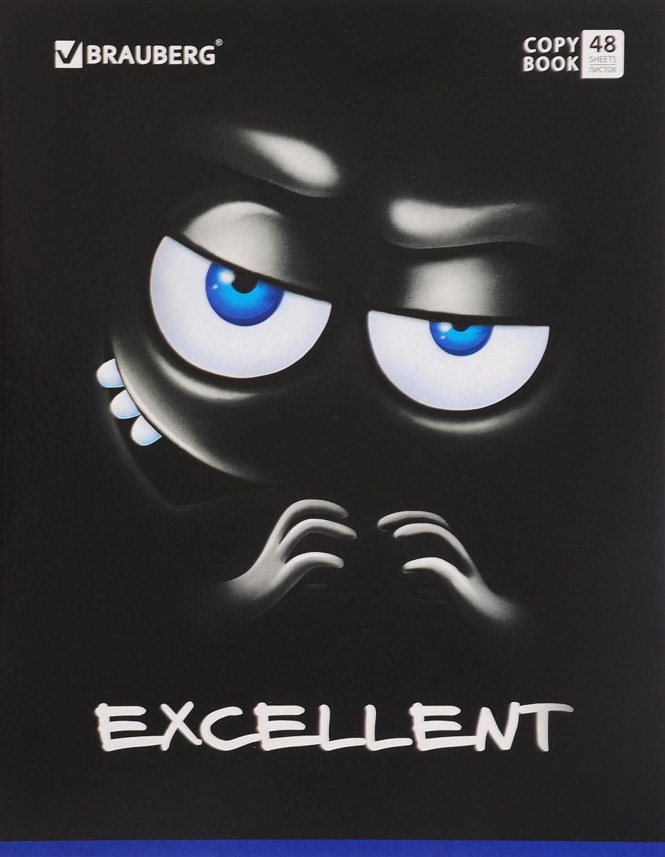 Brauberg Тетрадь Мордашка 48 листов в клетку цвет черный синий402045_черный, синийТетрадь Brauberg Мордашка подойдет как школьнику, так и студенту. Обложка тетради выполнена из плотного картона, что позволит сохранить ее в аккуратном состоянии на протяжении всего времени использования.Внутренний блок тетради, соединенный двумя металлическими скрепками, состоит из 48 листов белой бумаги. Стандартная линовка в клетку голубого цвета дополнена полями.