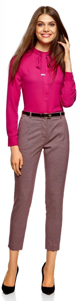 Купить Брюки женские oodji Collection, цвет: черный, бордовый. 21703119-2/16462/2949O. Размер 44-170 (50-170)