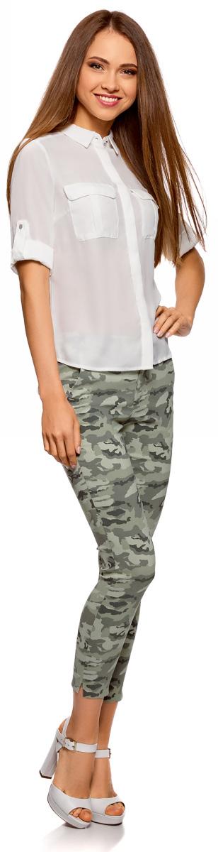 Брюки женские oodji Ultra, цвет: светло-зеленый, темно-серый. 11707117/45560/6025O. Размер 34 (40-170) брюки женские oodji ultra цвет светло серый 11700160 27125 2000n размер 34 170 40 170