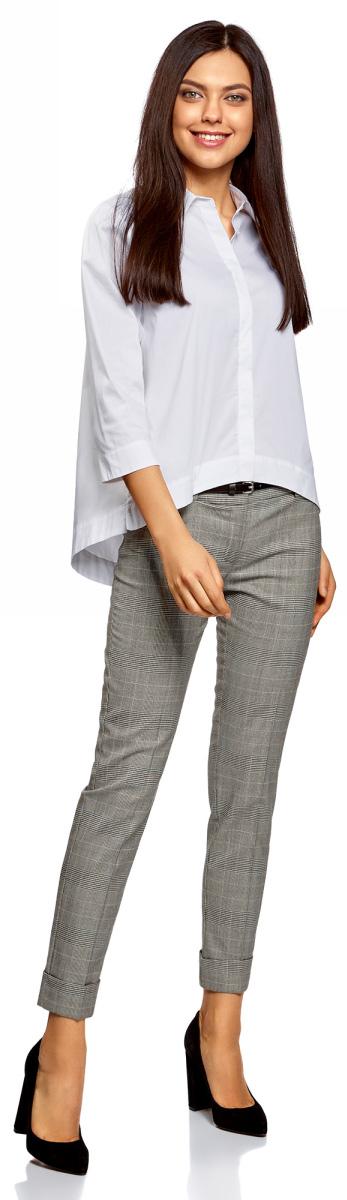 Брюки женские oodji Ultra, цвет: черный, белый. 11703057-11/46961/2912O. Размер 38-170 (44-170)11703057-11/46961/2912OСтильные женские брюки oodji изготовлены из качественного материала. Застегиваются брюки на комбинированную застежку.