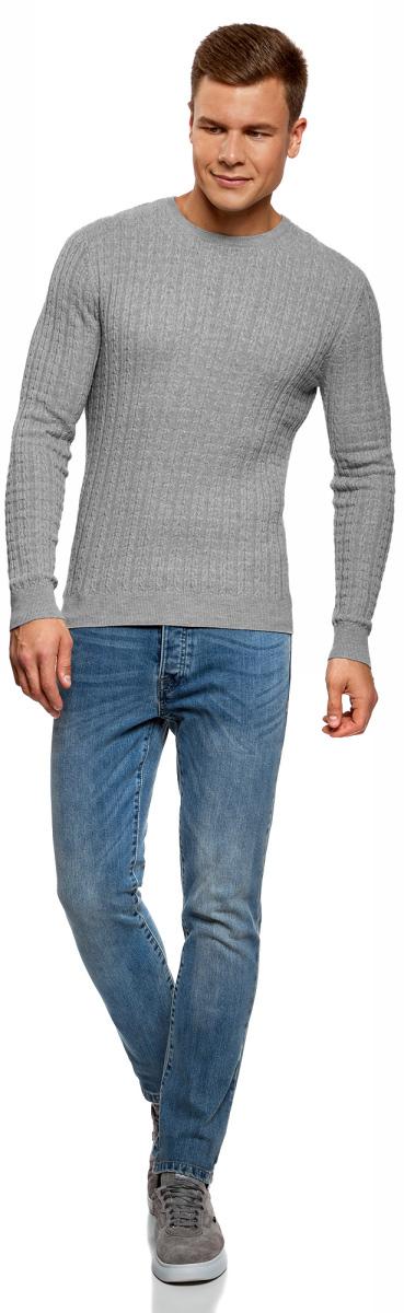Джемпер мужской oodji Lab, цвет: серый меланж. 4L112173M/44422N/2300M. Размер L (52/54)4L112173M/44422N/2300MДжемпер oodji изготовлен из хлопка и акрила и оформлен вязкой в мелкую косу. Модель выполнена с длинными рукавами и круглым вырезом горловины. Джемпер дополнен широкими вязаными резинками по низу изделия и на манжетах.
