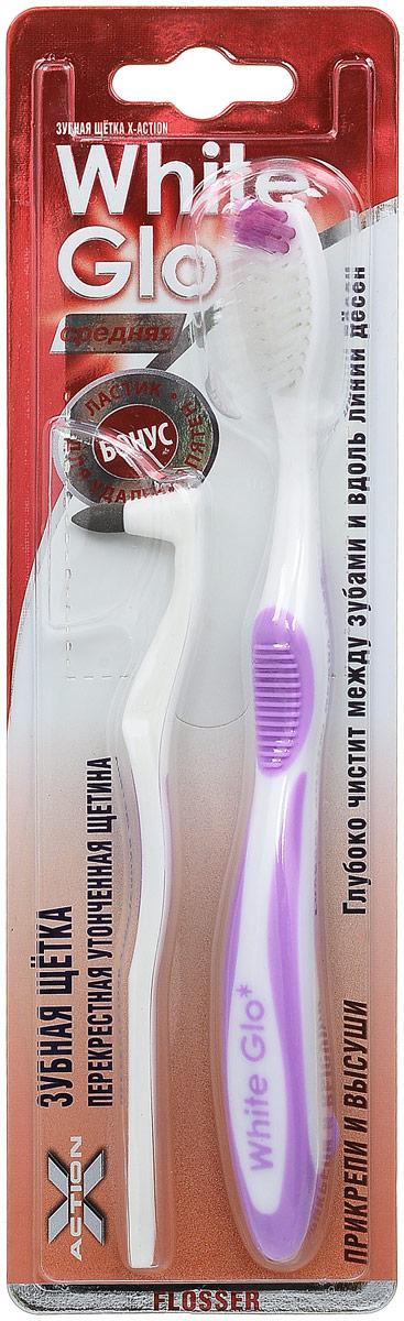 """Зубная щетка White Glo """"Flosser"""" отбеливающая и ластик для удаления налета, средняя жесткость, цвет: сиреневый"""