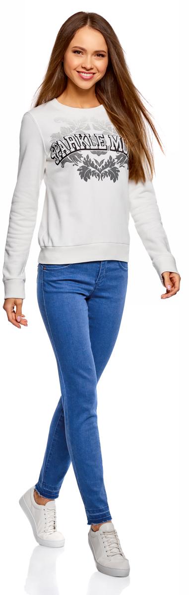 Джинсы женские oodji Ultra, цвет: синий джинс. 12103162/45596/7500W. Размер 27-30 (44-30)12103162/45596/7500WЖенские джинсы oodji выполнены из высококачественного материала. Джинсы застегиваются на пуговицу в поясе и ширинку на застежке-молнии, дополнены шлевками для ремня. Джинсы имеют классический пятикарманный крой: спереди модель дополнена двумя втачными карманами и одним маленьким накладным кармашком, а сзади - двумя накладными карманами.