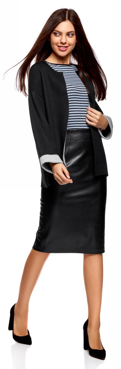 Жакет женский oodji Ultra, цвет: черный, серый. 63212588/47063/2923B. Размер S (44)63212588/47063/2923BВязаный жакет от oodji выполнен из пряжи сложного состава. Модель свободного силуэта с длинными рукавами со спущенным плечом без застежки. Рукава дополнены отворотами.