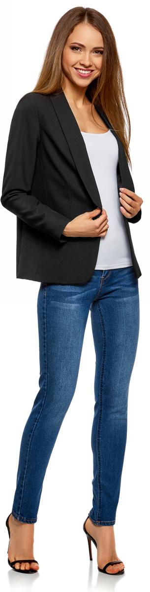 Жакет женский oodji Ultra, цвет: черный. 11207011/42830/2900N. Размер 42-170 (48-170)11207011/42830/2900NЖакет женский oodji Ultra выполнен из полиэстера и эластана. Модель с лацканами застегивается на пуговицу.