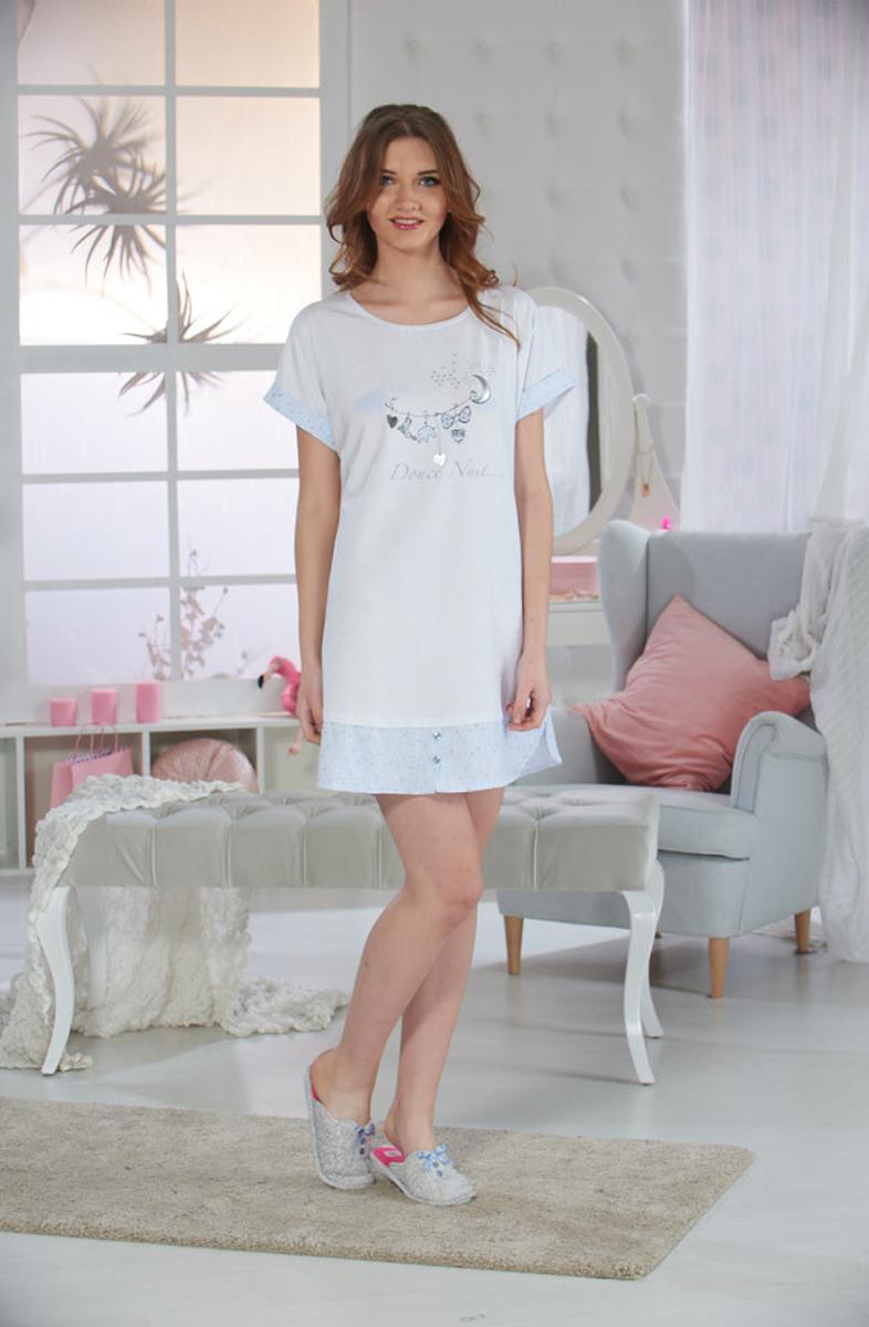 Платье домашнее Sevim, цвет: голубой. 10334 SV. Размер M (42/44)10334 SVДомашнее платье Sevim выполнено из мягкого эластичного хлопка. Модель свободного кроя с короткими рукавами и круглым вырезом горловины спереди оформлена принтовым рисунком. Платье красиво смотрится, идеально сидит, дарит легкость, свободу движениям и оптимальный комфорт в процессе носки.