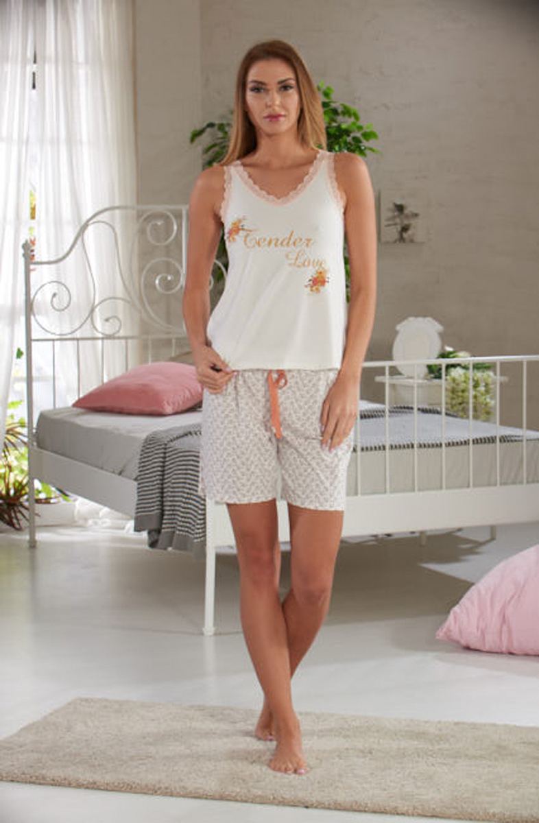 Домашний комплект женский Sevim: топ, шорты, цвет: кремовый. 10281 SV. Размер L (44/46) топ sevim linse
