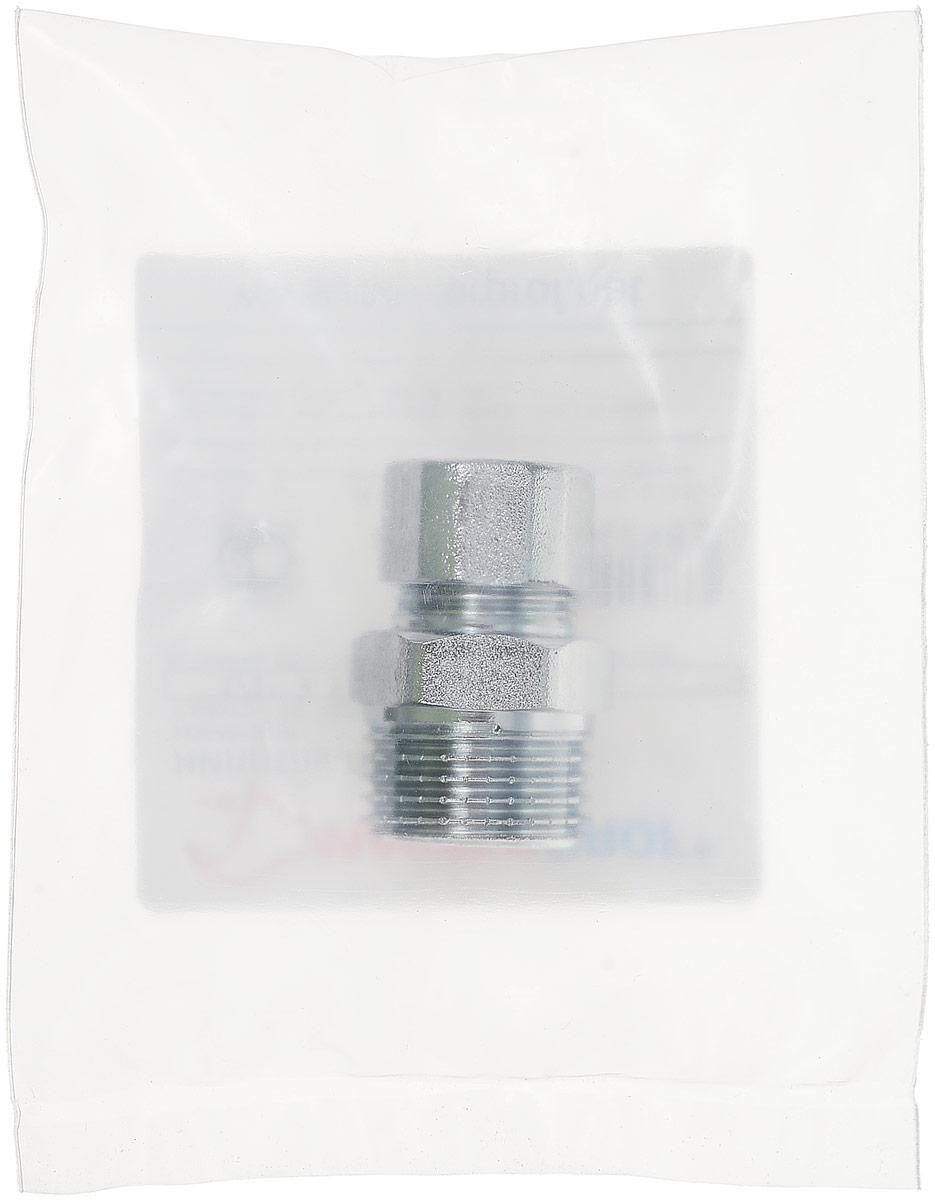 Ниппель-переходник усиленный 1/2х3/8, резьба наружная, с цангой 10 мм, хромированный, JifИС.071623Ниппель-переходник (бочонок) усиленный 1/2х3/8, резьба наружная, с цангой 10 мм, хромированный, предназначен для подключения жесткой подводки к смесителю. Соединение: наружная резьба - цангаПокрытие - хром.