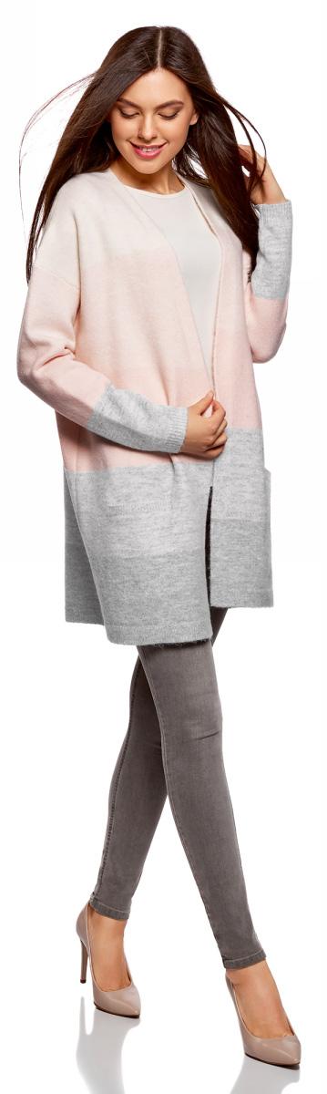 Кардиган женский oodji Ultra, цвет: белый, бежевый. 63207192/47104/1233S. Размер XS (42)63207192/47104/1233SВязаный кардиган от oodji выполнен из пряжи сложного состава. Модель свободного силуэта с длинными рукавами без застежки дополнена накладными карманами.