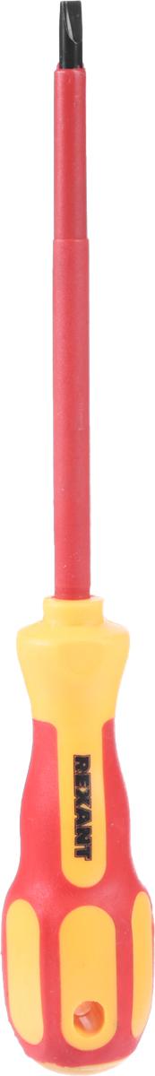 Отвертка шлицевая Reхant Электрика, SL 5 х 125 мм12-4713Отвертка Reхant Электрика предназначена для электромонтажных работ, монтажа/демонтажа крепежных соединений. Стержень отвертки, выполненный из высококачественной хромованадиевой стали с оксидированным намагниченным наконечником, покрыт специальным изоляционным материалом. Эргономичная изолированная двухкомпонентная рукоятка делает работу с инструментом легкой и удобной.Длина жала: 12,5 см.Общая длина отвертки: 23 см.