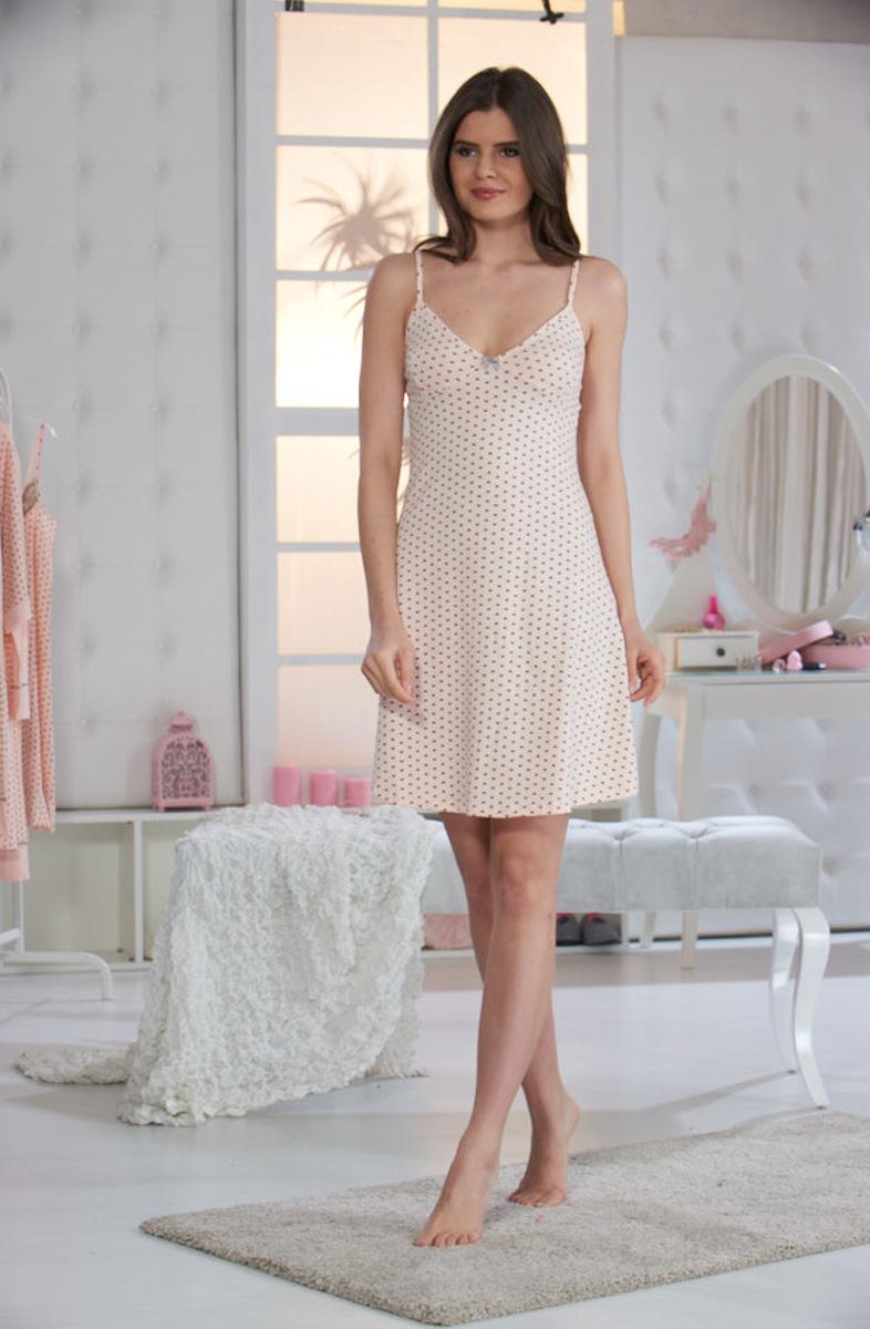 Ночная рубашка женская Sevim, цвет: персиковый. 10449 SV. Размер S (40/42)10449 SVНочная сорочка Sevim выполнена из натурального хлопка с небольшим добавлением эластана. Модель с V-образным вырезом горловины на тонких бретельках. Сорочка оформлена принтом в мелкий горошек.