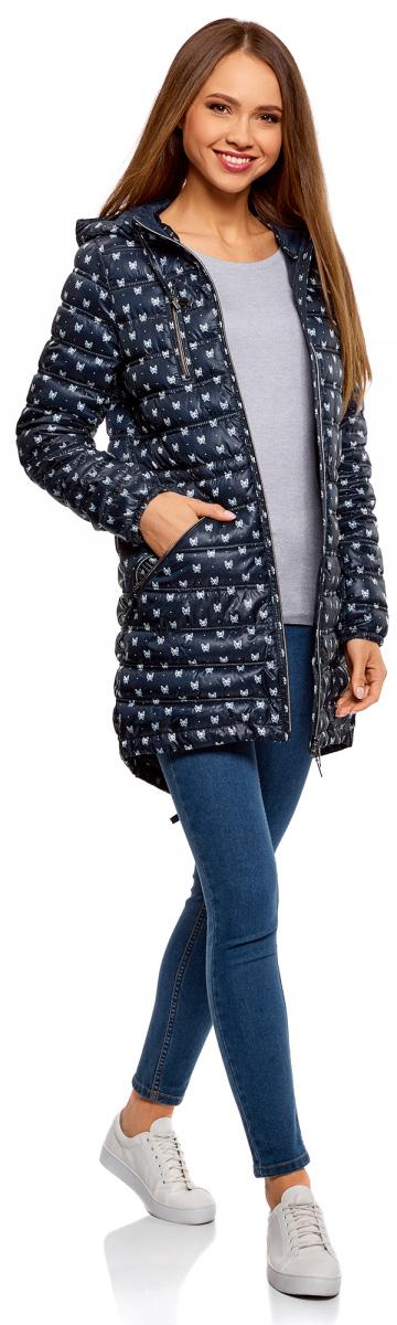 Куртка женская oodji Ultra, цвет: темно-синий, кремовый, животные. 10203056-2B/42257/7930A. Размер 40-170 (46-170) куртка женская oodji ultra цвет темно изумрудный 10203056 33445 6e00n размер 38 44 170