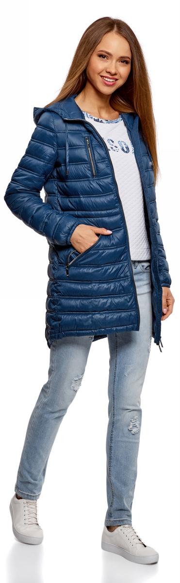 Куртка женская oodji Ultra, цвет: темно-синий. 10203056B/33445/7901N. Размер 40-170 (46-170) куртка женская oodji ultra цвет темно изумрудный 10203056 33445 6e00n размер 38 44 170