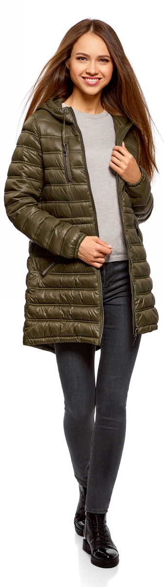 Куртка женская oodji Ultra, цвет: темный хаки. 10203056B/33445/6800N. Размер 40-170 (46-170)10203056B/33445/6800NКуртка женская oodji Ultra выполнена из полиамида. Модель с длинными рукавами и капюшоном застегивается на застежку-молнию.