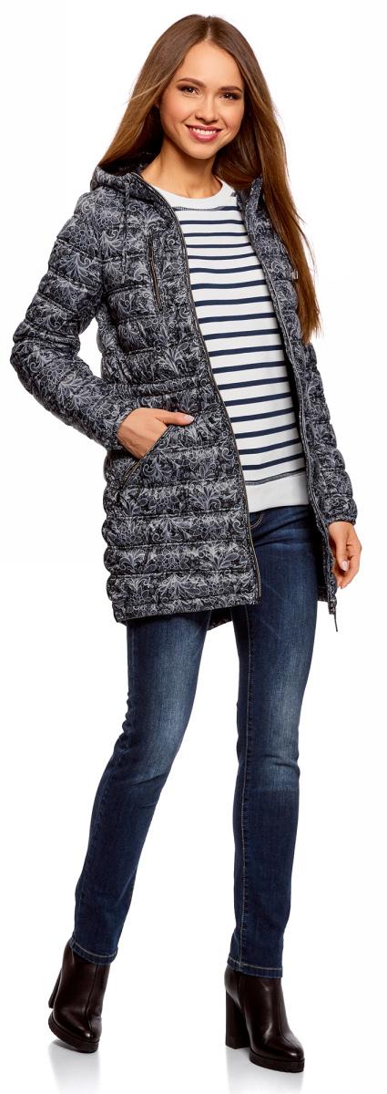 Куртка женская oodji Ultra, цвет: черный, серый. 10203056-2B/42257/2923L. Размер 34-170 (40-170)10203056-2B/42257/2923LКуртка женская oodji Ultra выполнена из полиэстера. Модель с длинными рукавами и капюшоном застегивается на застежку-молнию.