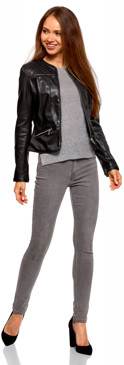Куртка женская oodji Ultra, цвет: черный. 18A04012-1/43578/2900N. Размер 34-170 (40-170)18A04012-1/43578/2900NУкороченная куртка oodji Ultra приталенного кроя выполнена из высококачественной искусственной кожи. Модель с круглым вырезом горловины застегивается на металлическую молнию и дополнена двумя прорезными карманами на молнии. Стильная приталенная куртка - удачный вариант на каждый день, который хорошо смотрится на любой фигуре. Она универсальна и подойдет к самым разным комплектам одежды. Такую куртку удобно носить с джинсами, брюками или юбками разной длины. Под куртку можно надеть свитшот, джемпер, блузку или водолазку. В этой куртке можно пойти на учебу или работу, прогуляться по городу, отправиться в дальнее путешествие. Из обуви с курткой хорошо будут смотреться невысокие сапоги, ботинки на толстой подошве, сникерсы или ботильоны. Стильная и удобная вещь для активных натур!
