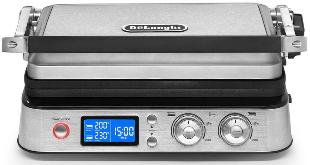 DeLonghi CGH1030D мультигрильCGH1030DЭлектрогриль De Longhi CGH1030D со съёмными пластинами будет актуальным для любой кухни. Небольшое, но мощное устройство позволяет поджаривать мясо, рыбу и овощи, готовить бифштексы, гамбургеры и другие блюда.Электронный LED дисплей позволяет управлять настройками мультигриля. Мультигриль оснащен функцией электронного контроля температуры для обеспечения максимальной точности и равномерности нагрева всей поверхности пластин. 2 отдельных термостата позволяют устанавливать температуру для каждой из двух пластин с помощью регуляторов на панели управления. Функция SEAR идеальна для запечатывания мяса, для сохранения сочности и нежности продукта.Это первый гриль с приложением, которое поможет вам на каждом этапе готовки. Приложение порекомендует правильный режим, температуру и установки таймера в соответствии с типом и объемом блюда, которое вы захотите приготовить. Приложение бесплатное и очень удобное в использовании. Помимо инструкций и рекомендаций, в нем также содержатся рецепты необыкновенно вкусных блюд.Съемные пластины со встроенным нагревательным элементом легко моются в посудомоечной машине.Встроенный поддон для сбора жира легко снимается, его можно мыть в посудомоечной машине.В комплекте с мультигрилем есть 3 типа сменных пластин из высококачественного антипригарного тефлона для разного типа готовки: набор рифленых пластин, плоских пластин и пластин для вафель.