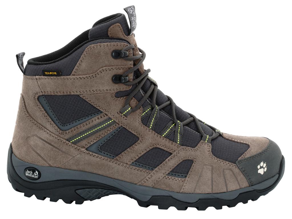 Ботинки трекинговые мужские Jack Wolfskin Vojo Hike Mid Texapore M, цвет: коричневый. 4011361-4088. Размер 12 (45,5)4011361-4088Удобные трекинговые мужские ботинки Vojo Hike Mid Texapore от Jack Wolfskin прекрасно подойдут для походов с легким рюкзаком. Верх обуви выполнен из водоотталкивающей замши со вставками из прочной полиэфирной ткани для дополнительной терморегуляции. Внутренняя отделка выполнена из быстросохнущего полиэстера с водонепроницаемой дышащей мембраной Texapore. Шнуровка надежно фиксирует модель на ноге. Язычок вшитый. Оформлено изделие цветными вставками, на язычке и на заднике тиснением в виде названия и логотипа бренда.Гибкая эргономичная стелька из EVA с покрытием из текстильного материала, обладающего гигроскопическими свойствами. Прочная легкая подошва предназначена для универсального туристического использования. Она состоит из внешней подошвы, выполненной из гибкой, износостойкой резины, рисунок протектора которой обеспечивает оптимальное сцепление и безопасность; легкой внутренней подошвы из EVA, которая гарантирует высокий уровень комфорта и отличную амортизацию. В таких ботинках вы будете чувствовать себя удобно и комфортно.