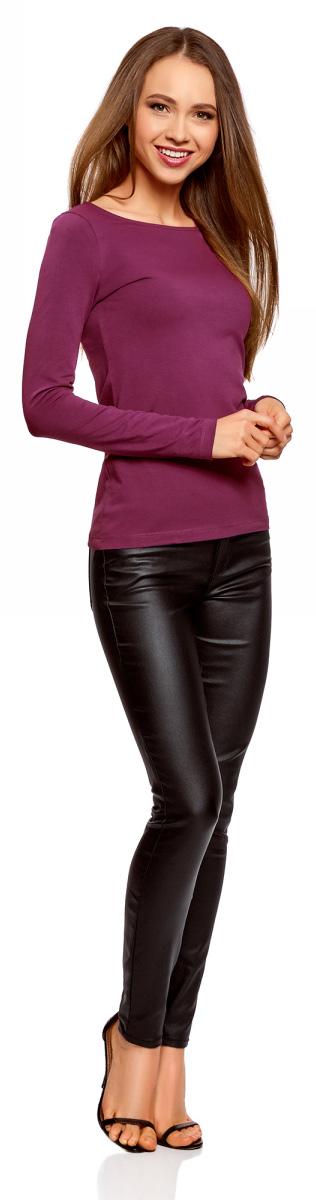 Лонгслив женский oodji Collection, цвет: фиолетовый. 24201007B/46147/8300N. Размер XS (42)24201007B/46147/8300NЖенский лонгслив выполнен из эластичной хлопковой ткани. Модель с круглым вырезом горловины и длинными стандартными рукавами.