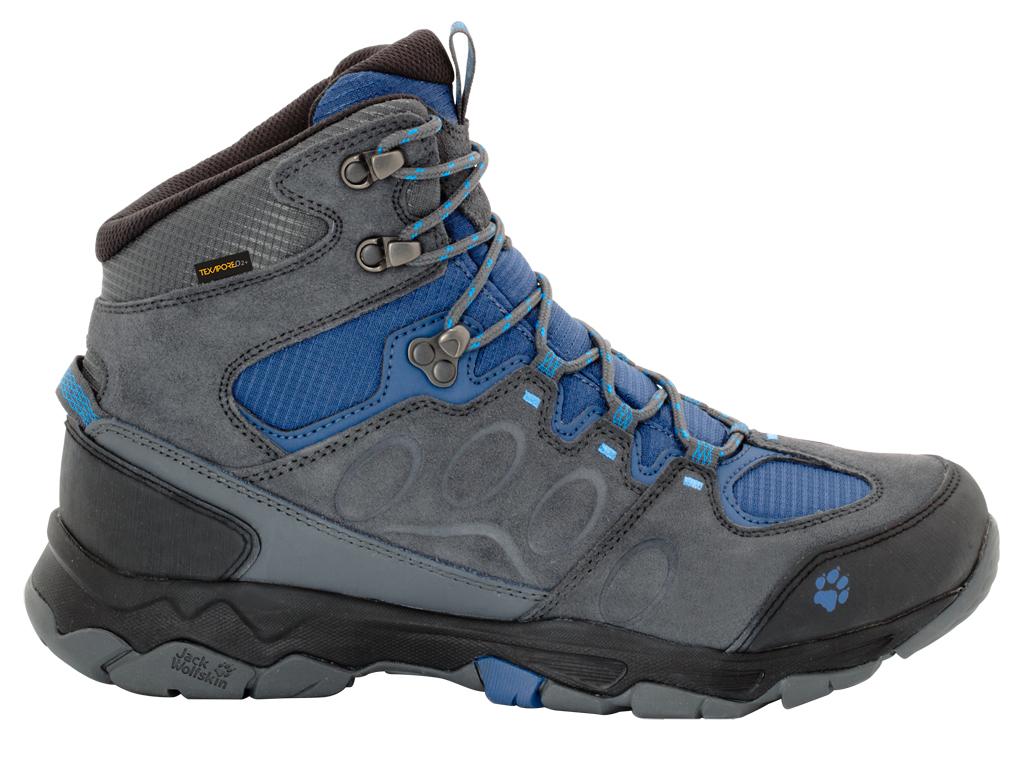 Ботинки трекинговые мужские Jack Wolfskin Mtn Attack 5 Texapore Mid M, цвет: серый, синий. 4017571-1588. Размер 9,5 (42)4017571-1588Водонепроницаемые мужские ботинки от Jack Wolfskin прекрасно подойдут для многодневных походов. Верх обуви выполнен из водоотталкивающей замши со вставками из прочной полиэфирной ткани для дополнительной терморегуляции. Внутренняя отделка выполнена из быстросохнущего полиэстера с водонепроницаемой дышащей мембраной Texapore O2. Шнуровка надежно фиксирует модель на ноге. Язычок вшитый. Оформлено изделие цветными вставками, на язычке и на заднике тиснением в виде названия и логотипа бренда. Гибкая эргономичная стелька из текстильного материала, обладающего гигроскопическими свойствами. Верхняя часть обуви подстраивается под вашу лодыжку, обеспечивая устойчивость и комфорт, которые чрезвычайно необходимы при преодолении каменистых троп и лесистой местности. Прочный синтетический материал во время подъема отводит лишнюю влагу, позволяя воздуху циркулировать, поддерживая тем самым приятный внутренний климат. Легкая, износостойкая подошва обеспечивает хорошую амортизацию и сцепление с любым типом почвы.