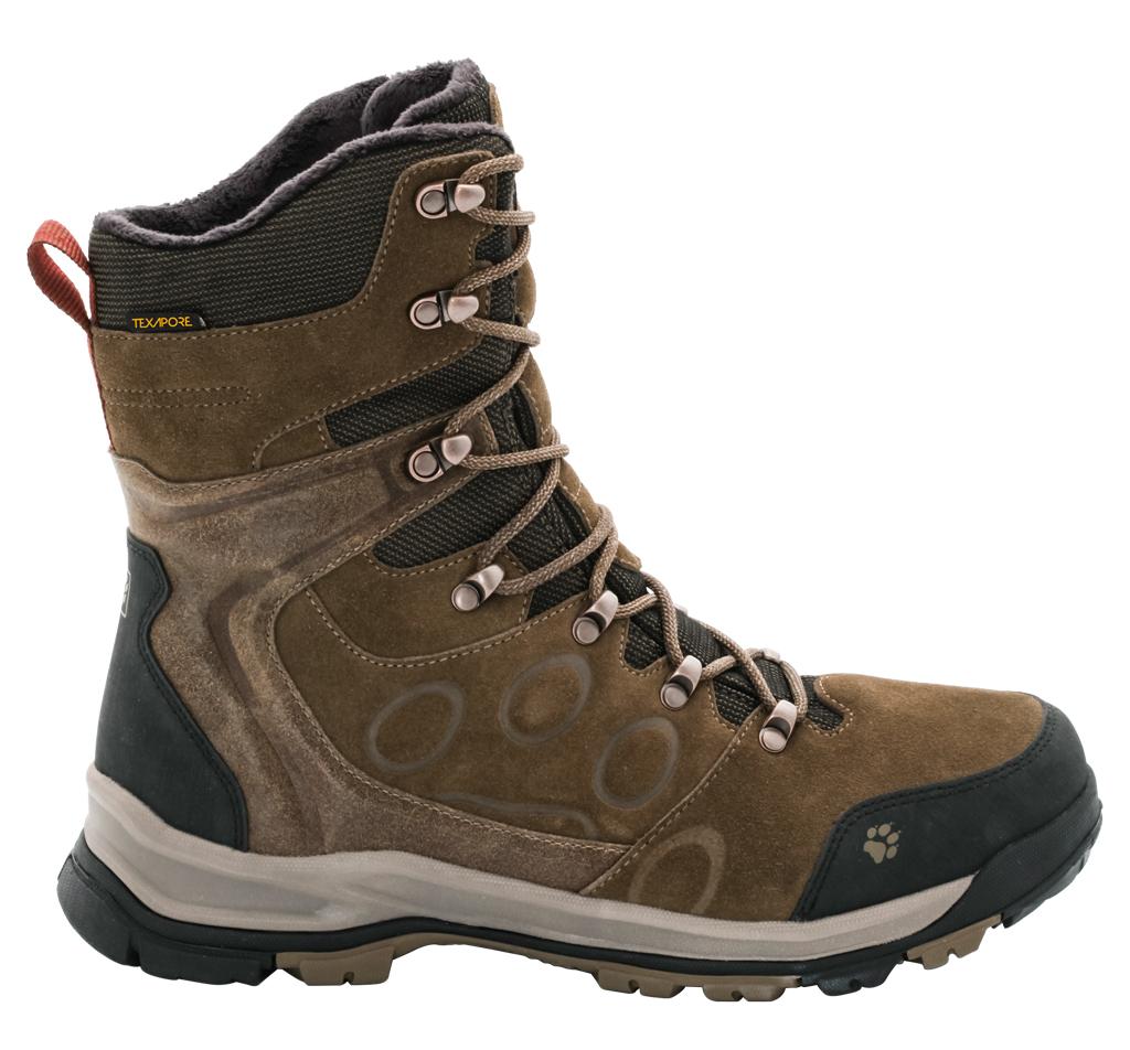 Ботинки трекинговые мужские Jack Wolfskin Glacier Bay Texapore High M, цвет: коричневый. 4020481-5510. Размер 13 (46,5)4020481-5510Водонепроницаемые зимние ботинки Jack Wolfskin до середины икры с особо теплой флисовой подкладкой. Благодаря подкладке из флиса Nanuk Ultra ваши ноги остаются в тепле при температурах до -30 °C, а высокие голенища дополнительно защищают от дождя, снега и холода. Подъем оформлен классической шнуровкой, которая надежно фиксирует обувь на ноге и регулирует объем. Язычок, препятствующий попаданию грязи внутрь, задник, мысок и промежуточная подошва декорированы символикой бренда. Также задник и язычок дополнены ярлычком для более удобного надевания обуви, а мыс вставкой для дополнительной защиты. Благодаря тому, что верхняя часть ботинок выполнена из водостойкой замши и прочной ткани, а мембранный материал Texapore защищает от непогоды, ботинки идеально подходят для ежедневного ношения зимой. Крепкая нескользящая подошва Wolf Snow обеспечивает надежное сцепление и хорошо поддерживает ногу во время зимних прогулок. В таких ботинках вы будете чувствовать себя удобно и комфортно.