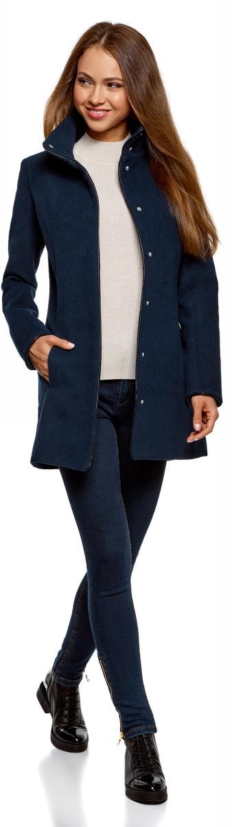 Пальто женское oodji Collection, цвет: темно-синий. 20104020-1/43765/7900N. Размер 38-170 (44-170) oodji 20104020 1 43765 3529b