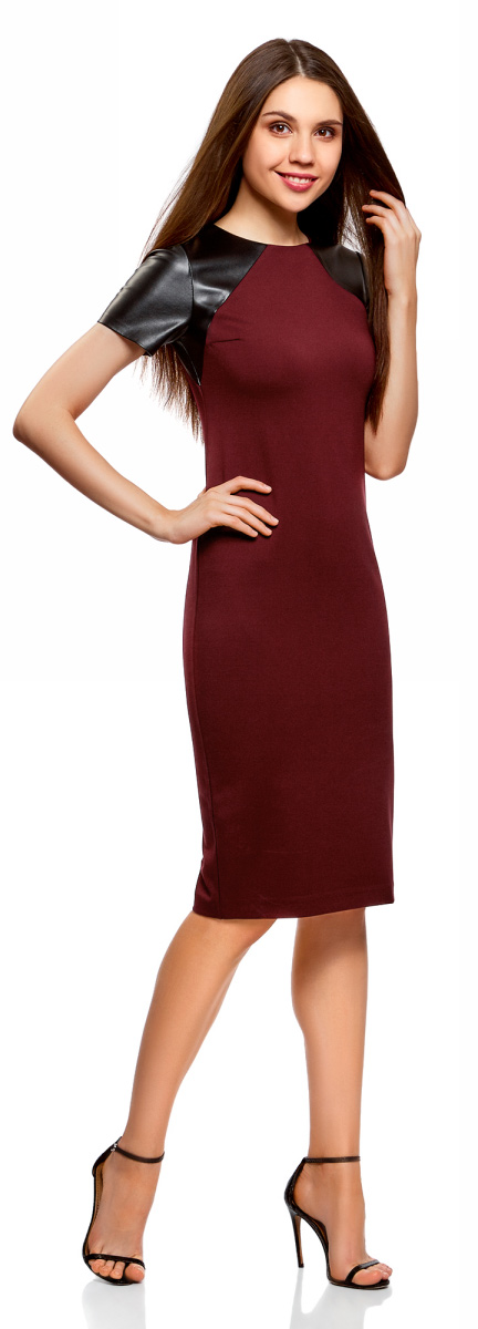 Платье oodji Collection, цвет: бордовый, черный. 24011018/43060/4929B. Размер XS (42)24011018/43060/4929BЛаконичное платье oodji Collection выполнено из плотного трикотажа со вставками из искусственной кожи. Модельсредней длины застегивается на скрытую молнию на спинке и дополнена разрезом на юбке. Платье облегающего кроя подчеркивает достоинства фигуры и стройнит ноги. Модель подойдет для офиса, учебы, свидания или встречи с подругами и станет отличным дополнением повседневного гардероба.