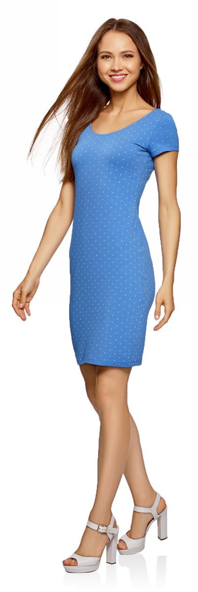 Платье oodji Collection, цвет: голубой, белый горох. 24001082-2/47420/7010D. Размер L (48) платье oodji collection цвет черный 73912217 2b 33506 2900n размер l 48
