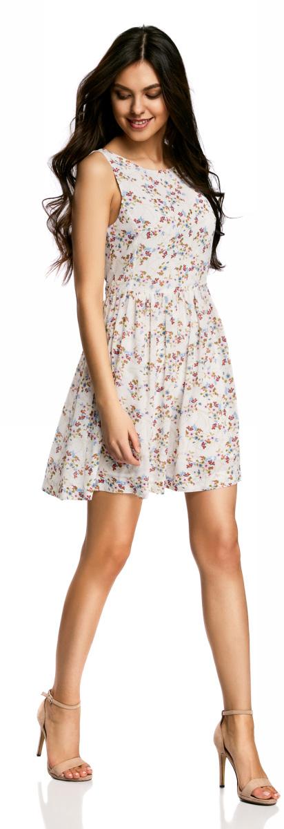 Платье oodji Ultra, цвет: белый. 11900181-2B/35271/1240F. Размер 44-170 (50-170) юбка oodji ultra цвет белый 11605061 35319 1000n размер 44 170 50 170
