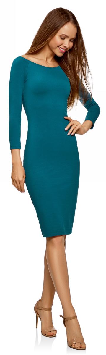 Платье oodji Ultra, цвет: морская волна. 14017001-6B/47420/6C00N. Размер L (48)14017001-6B/47420/6C00NИзящное трикотажное платье облегающего силуэта с длинными рукавами выполнено из полиэстера с добавлением эластана. Платье эффектно сидит и отлично смотрится.