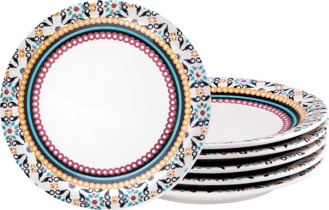 Набор обеденных тарелок Biona Тодо, 26 см, 6 шт6750TODO-1-6Добавьте вашему столу бразильского очарования с набором тарелок Biona. Их яркие летние цвета прекрасно подойдут для ежедневной сервировки, а так же станут естественным дополнением праздничного вечера. Набор тарелок Biona Тодо выполнен из высококачественной керамики. Он включает в себя шесть обеденных тарелок. Можно использовать в микроволновой печи и мыть в посудомоечной машине.