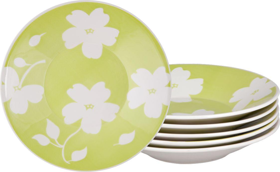 Набор тарелок суповых Biona Жасмин, диаметр 22 см, 6 шт7461JASMIN26-2-6Добавьте вашему столу бразильского очарования с набором тарелок Biona. Их яркие летние цвета прекрасно подойдут для ежедневной сервировки, а так же станут естественным дополнением праздничного вечера. Набор включает в себя шесть суповых тарелок. Материал - керамика. Можно использовать в микроволновой печи и мыть в посудомоечной машине.
