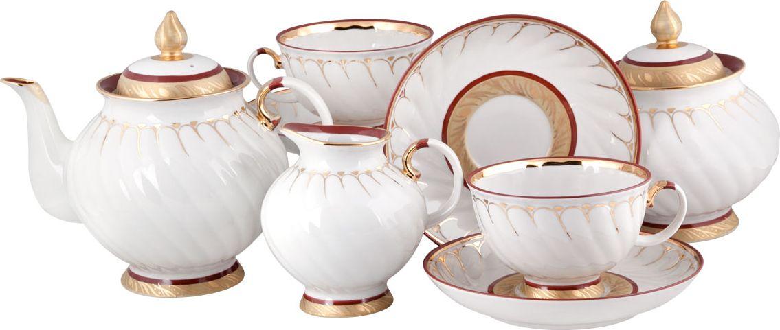 Сервиз чайный 15 пред.Голубая роза Золотое кольцо ручная роспись заготовки под роспись creative набор украшаем чайный сервиз