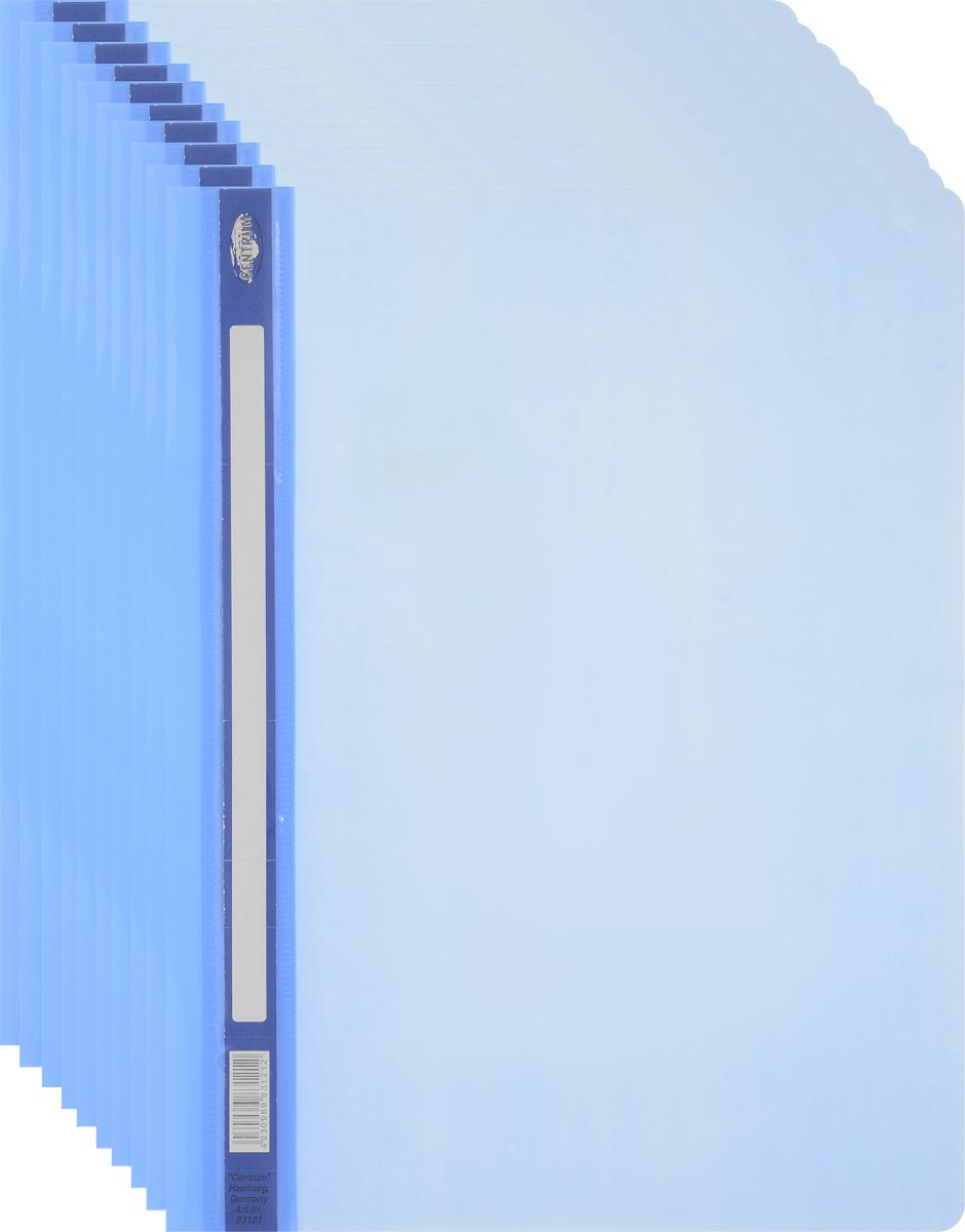 Centrum Папка-скоросшиватель цвет голубой 10 шт83121ОПапка-скоросшиватель Centrum - это удобный и функциональный офисный инструмент, предназначенный для хранения и транспортировки рабочих бумаг и документов формата А4.Папка оснащена металлическими скобами для фиксации перфорированных бумаг.Папка-скоросшиватель - это незаменимый атрибут для студента, школьника, офисного работника. Такая папка надежно сохранит ваши документы и сбережет их от повреждений, пыли и влаги.