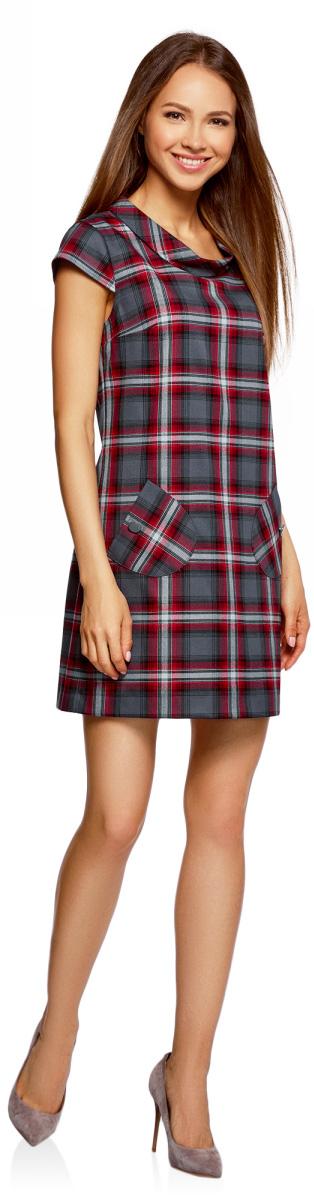 Платье oodji Ultra, цвет: темно-серый, красный. 12C03001/37812/2545C. Размер 38-170 (44-170)12C03001/37812/2545CСтильное платье прямого кроя с короткими рукавами. У модели небольшой воротник-хомут и два накладных закругленных кармана на пуговицах. Короткое платье прямого силуэта красиво сидит на любой фигуре.