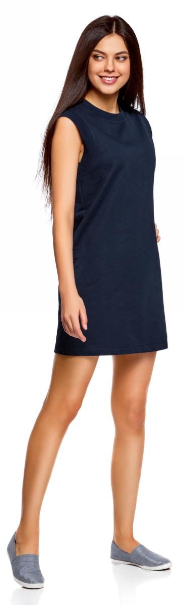 Платье oodji Ultra, цвет: темно-синий. 14008015-3B/47481/7900N. Размер S (44)14008015-3B/47481/7900NКороткое платье oodji изготовлено из качественного плотного материала. Удобная модель выполнена с круглым вырезом и без рукавов.
