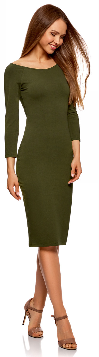 Платье oodji Ultra, цвет: темный хаки. 14017001-6B/47420/6800N. Размер S (44)14017001-6B/47420/6800NИзящное трикотажное платье облегающего силуэта с длинными рукавами выполнено из полиэстера с добавлением эластана. Платье эффектно сидит и отлично смотрится.