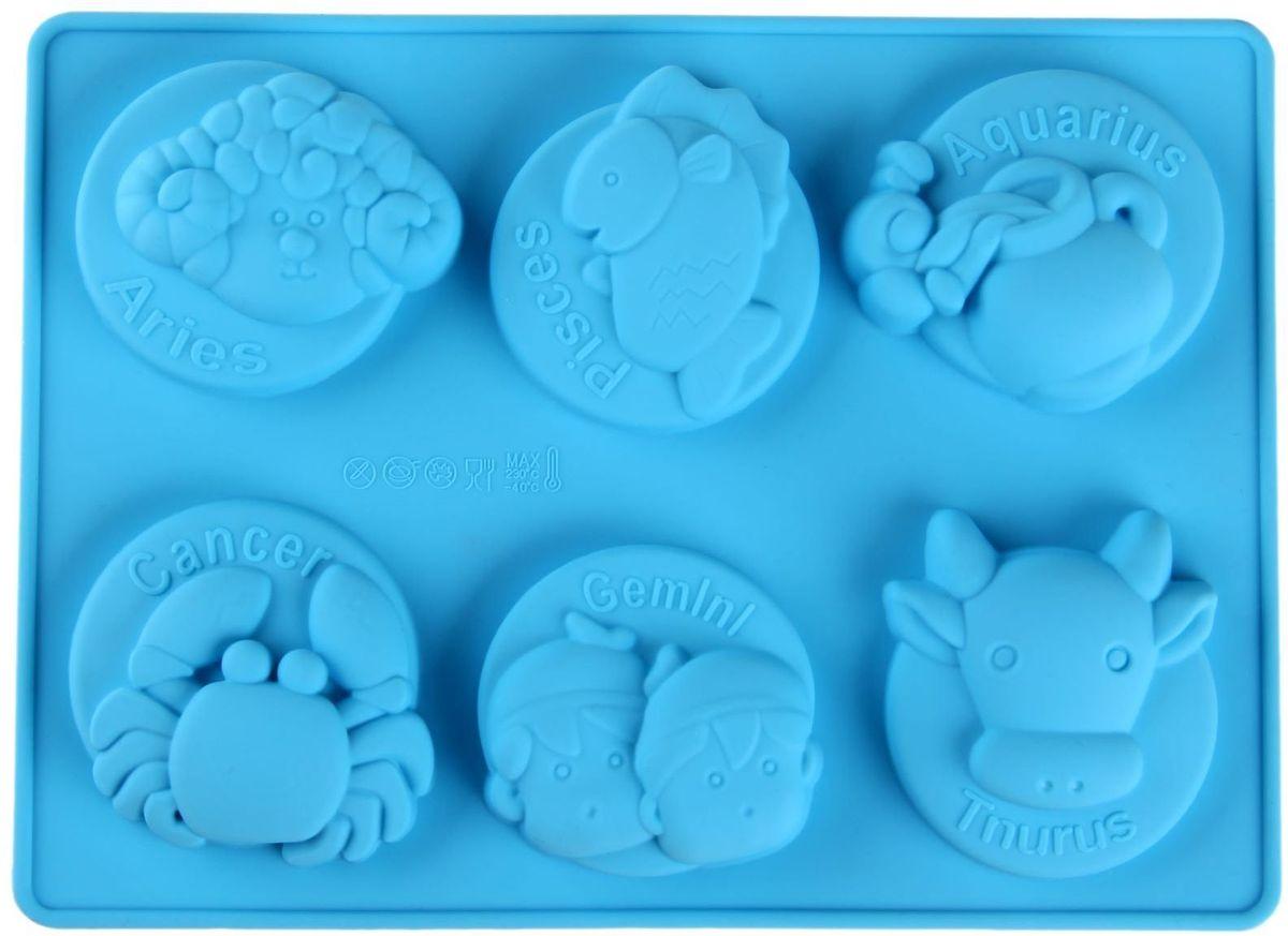 Форма для выпечки Доляна Знаки зодиака, цвет: голубой, 20 х 16 х 3 см, 6 ячеек114005Форма для выпечки из силикона — современное решение для практичных и радушных хозяек. Оригинальный предмет позволяет готовить в духовке любимые блюда из мяса, рыбы, птицы и овощей, а также вкуснейшую выпечку.Почему это изделие должно быть на кухне?блюдо сохраняет нужную форму и легко отделяется от стенок после приготовления;высокая термостойкость (от –40 до 230 ?) позволяет применять форму в духовых шкафах и морозильных камерах;небольшая масса делает эксплуатацию предмета простой даже для хрупкой женщины;силикон пригоден для посудомоечных машин;высокопрочный материал делает форму долговечным инструментом;при хранении предмет занимает мало места.Советы по использованию формыПеред первым применением промойте предмет тёплой водой.В процессе приготовления используйте кухонный инструмент из дерева, пластика или силикона.Перед извлечением блюда из силиконовой формы дайте ему немного остыть, осторожно отогните края предмета.Готовьте с удовольствием!