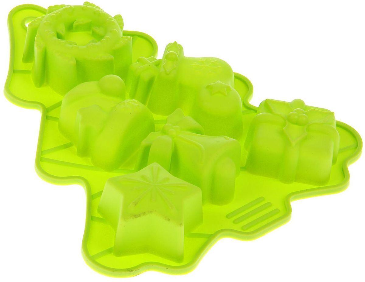 Форма для выпечки Доляна Елка, цвет: салатовый, 25 х 21 х 3 см, 6 ячеек1403906Форма Доляна Елка выполнена из силикона, благодаря этому выпечкувынимать легко и просто. Материал устойчив к фруктовым кислотам, может бытьиспользован в духовках и микроволновых печах. Перед первым применениемпромойте предмет тёплой водой. В процессе приготовления используйте кухонный инструмент из дерева,пластика или силикона. Перед извлечением блюда из силиконовой формы дайте ему немного остыть,осторожно отогните края предмета. Готовьте с удовольствием!