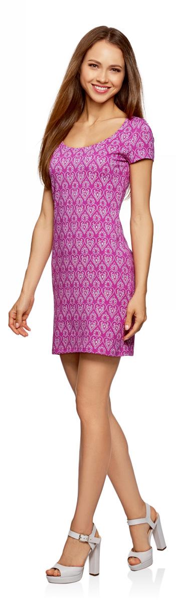 Платье oodji Ultra, цвет: фуксия. 14001182/47420/4730G. Размер M (46)14001182/47420/4730GБазовое облегающее платье с большим вырезом. Модель длиной ниже середины бедра. Короткий втачной рукав с двойной отстрочкой. Широкая круглая горловина отделана бейкой. Благодаря вырезу платье легко надевать. Мягкий трикотаж из натурального хлопка с незначительным добавлением эластана дышит, хорошо тянется и плотно облегает фигуру. Платье приятно для тела и не стесняет движений. Простой классический крой повторяет очертания силуэта. Облегающее платье прекрасно подойдет для фигур разного типа. Короткое трикотажное платье просто незаменимо в любом гардеробе. В нем можно пойти на дружескую встречу, прогулку по вечернему городу, в кино или кафе. В прохладную погоду сверху можно надеть жакет или укороченную куртку из кожи или замши. С платьем отлично сочетается обувь на каблуке - туфли-лодочки, босоножки, сандалии, ботильоны. С помощью неформальных кед или слипонов вы сможете создать спортивный и динамичный образ. Тоненький кожаный ремешок, оригинальный браслет или короткие бусы помогут завершить привлекательный лук. В таком платье вы будете чувствовать себя свободно и уверенно.