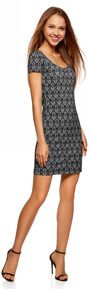 Платье oodji Ultra, цвет: черный. 14001182/47420/2930G. Размер L (48)