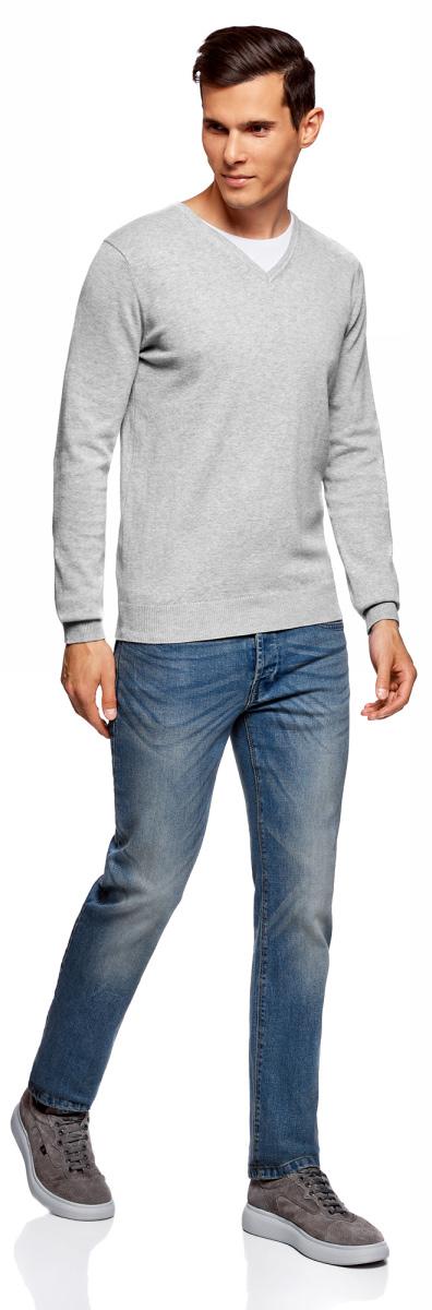Пуловер мужской oodji Basic, цвет: серый меланж. 4B212003M-1/21702N/2300M. Размер L (52/54)4B212003M-1/21702N/2300MБазовый пуловер от oodji выполнен из натурального хлопка. Комбинированная модель с длинными рукавами и V- образным вырезом горловины.