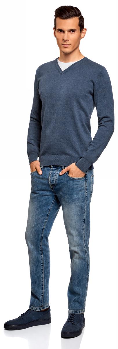 Пуловер мужской oodji Basic, цвет: синий меланж. 4B212003M-1/21702N/7500M. Размер L (52/54)4B212003M-1/21702N/7500MБазовый пуловер от oodji выполнен из натурального хлопка. Комбинированная модель с длинными рукавами и V- образным вырезом горловины.