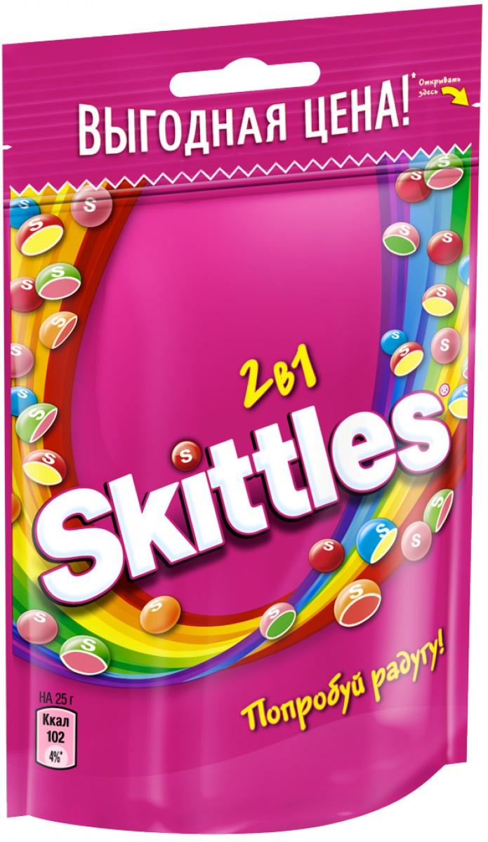 Skittles 2 в 1 драже в сахарной глазури, 100 г4009900481076Драже Skittles c разноцветной глазурью предлагают радугу фруктовых вкусов в каждой упаковке! Вкус 2 в 1 - это в два раза больше радуги, ведь в каждом драже - два фруктовых вкуса! Заразитесь радугой, попробуйте радугу!Уважаемые клиенты! Обращаем ваше внимание, что полный перечень состава продукта представлен на дополнительном изображении.