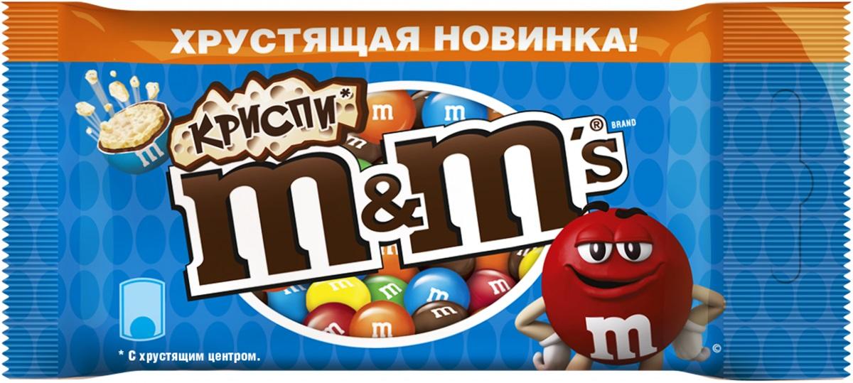 M&Ms Криспи драже с хрустящим центром, 36 г79003116Шоколадное драже M&Ms Криспи - хрустящие шарики в молочном шоколаде, покрытые хрустящей разноцветной глазурью.